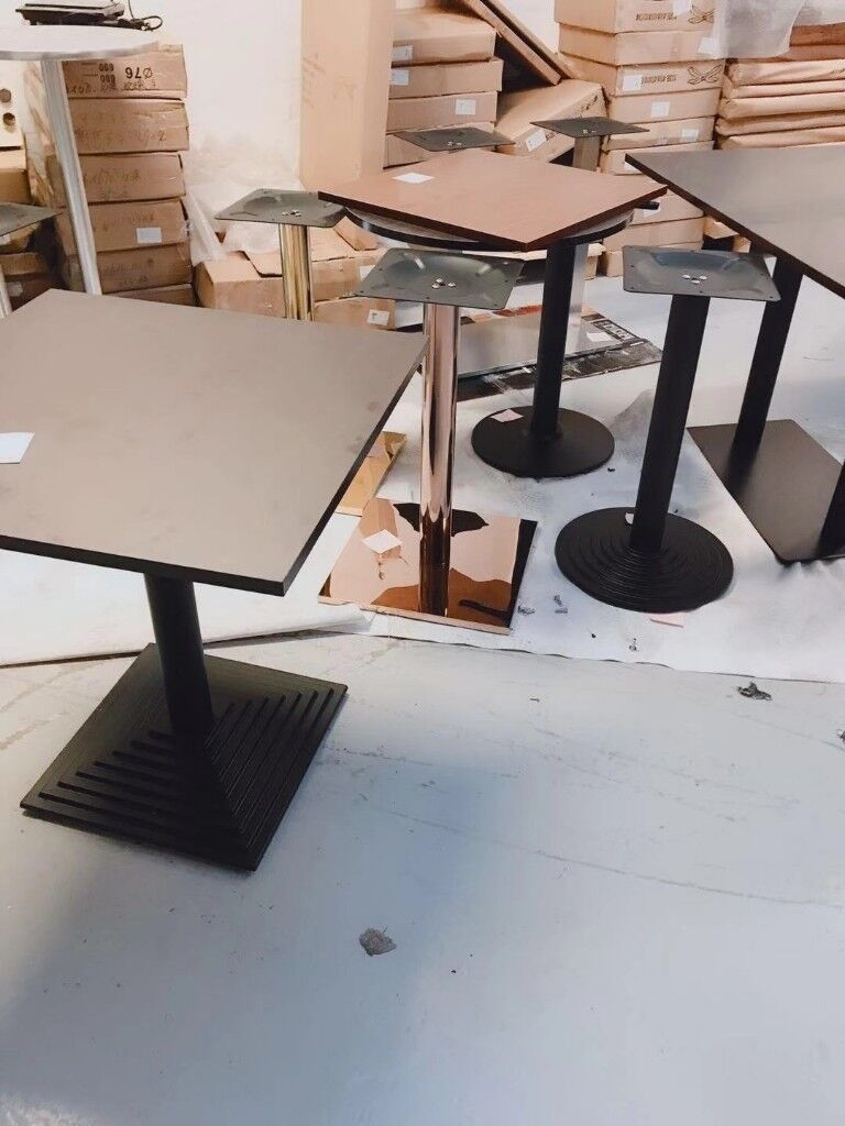 Brand new iron table base table top for restaurant pub