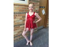 Red sequin modern dance comp outfir