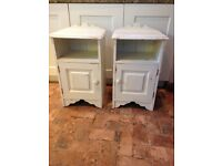 Shabby chic bedside cabinets in distressed cream paint finish, beautiful piece