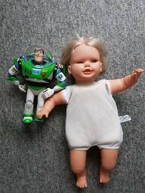 Vintage Baby Expressions doll and Talking Disney Buzz Lightyear