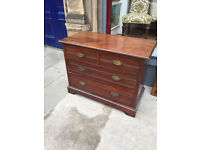 Solid chest of drawers with original handles . Good sized drawers.