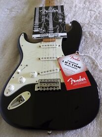 Fender Stratocaster Strat LEFT HANDED Electric Guitar Black with Maple Neck - Unplayed - Mexican
