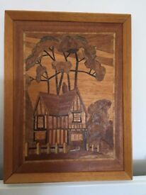 Inlaid Large Marquetry Wood Cut Veneer Plaque, Wall Hanging, Picture