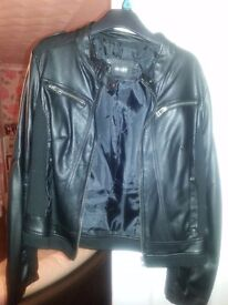 OSLEY BLACK LEATHER JAECKET - SIZE 10