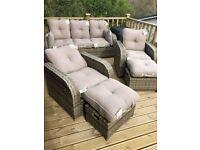 Brown rattan garden furniture set used