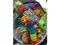 Large bag of baby toys including Lamaze