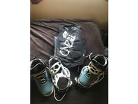 Impact vest. Mint condition. Size 11 hyper lite boots and bindings sizeM/L fits boots