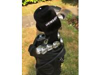 Full Dunlop golf club set with irons, drivers and putter, bag and men's Adidas shoes (size 9)