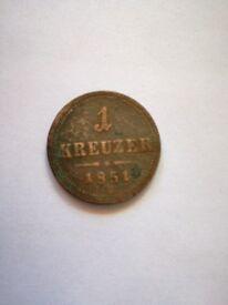 1 Kreuzer Year 1851 for sale