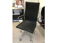 Eames style mid century black leather office management chair