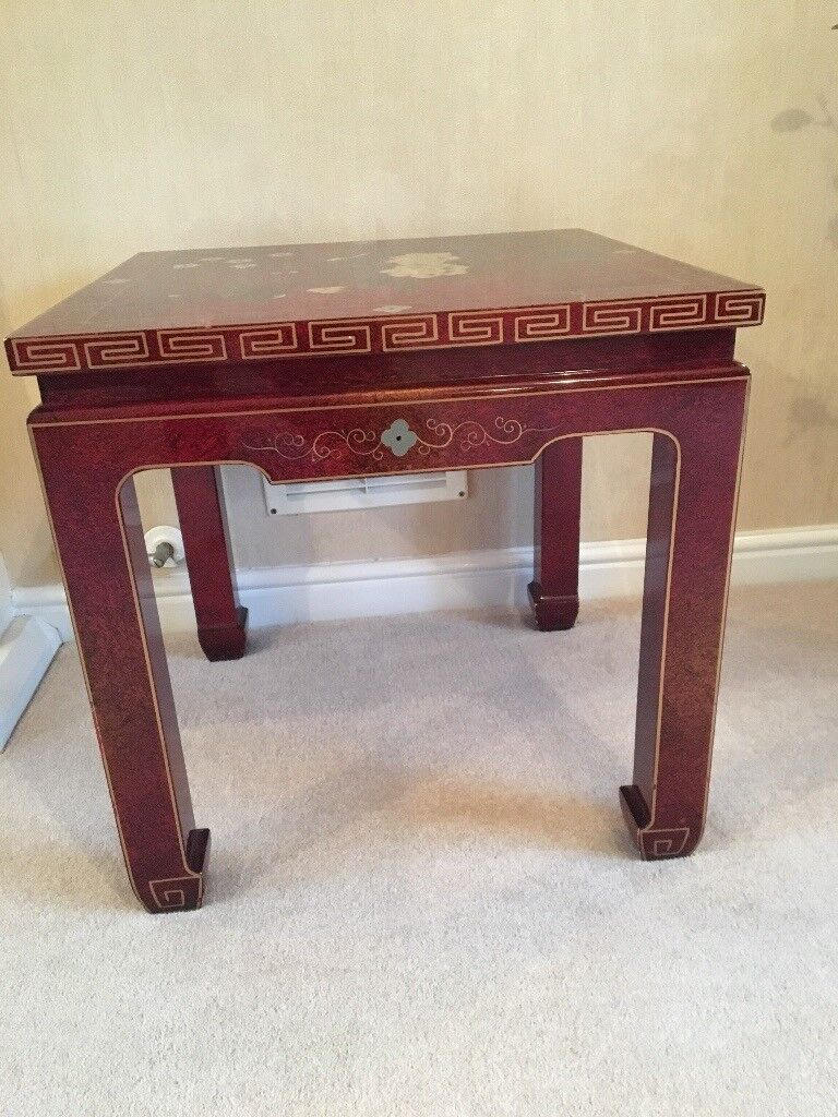 Two Red Lacquered Chinese Style Lamp Tables With Cabinet And Storage Box All In Good