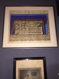 Vintage large Egyptian papyrus picture
