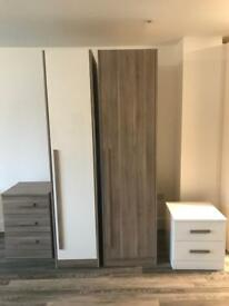 Schriber bedroom furniture set double skinned smoked oak and white