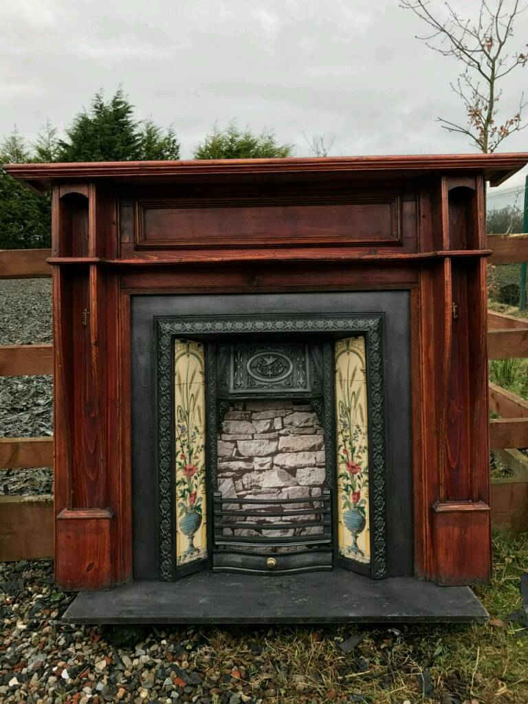 105 cast iron fireplace surround fire wood old tiled insert