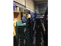 New Plastic stacking chairs in blue and green fabric