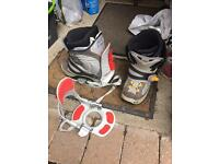 Snowboard boots and bindings size 9