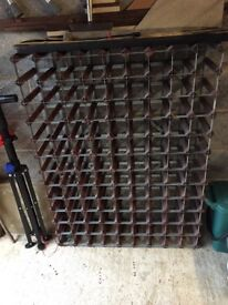 Large Wine Rack - holds 117 bottles, in wood and metal