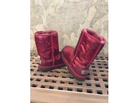 sparkly red ugg boots with box genuine uggs