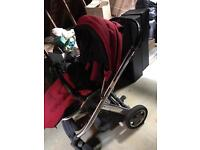 Oyster Plush Pram and Carry Cot from smoke free and pet free home
