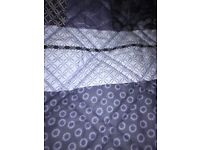 Blue reversible bed throw/bed cover