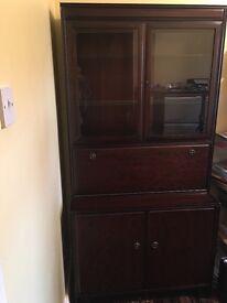 Mahogany wood display cabinet