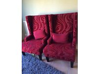 Bespoke Contemporary Armchairs in Ruby Red.