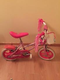 "Small Girls 12"" Bike With Stabilisers"