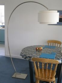 Arched floor lamp from John Lewis - chrome finish, shade included
