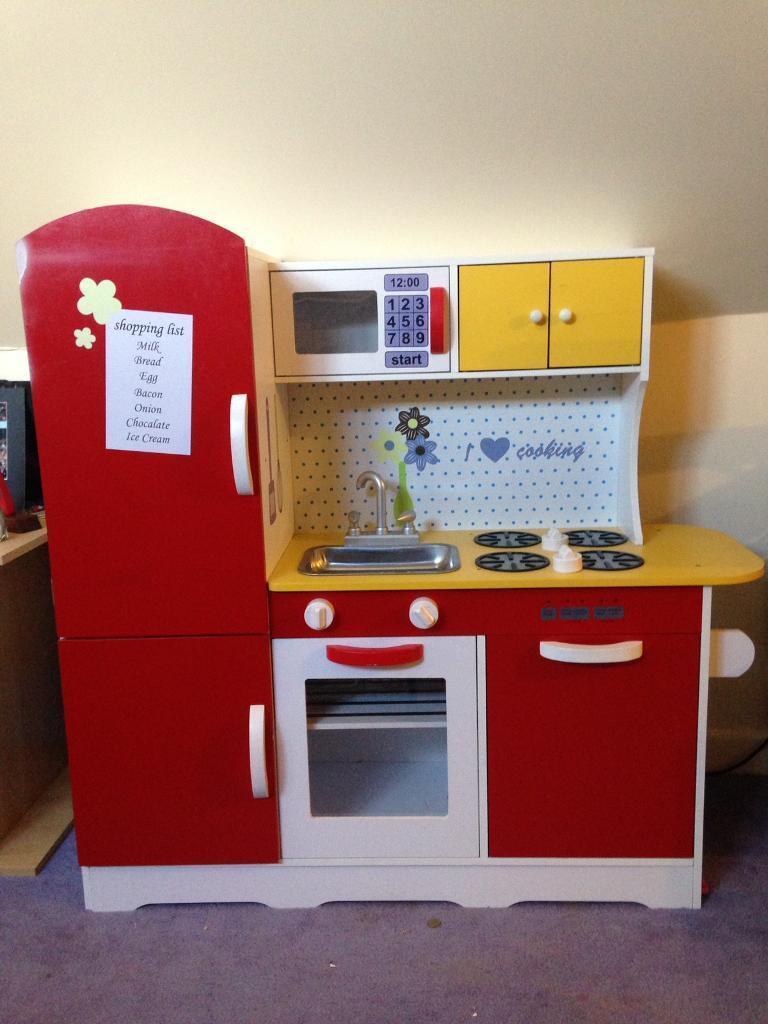 Kids wooden play kitchen plus assessories