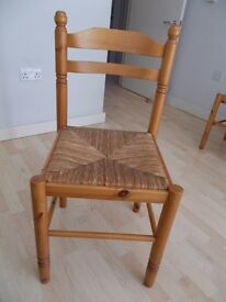 6 Pine Dining Room Chairs with Wicker Seats