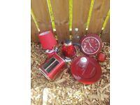 Red burgundy Kettle toaster kitchen lamp bargain pack