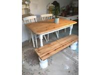 Farmhouse Rustic Vintage Pine Table and Bench / Chairs