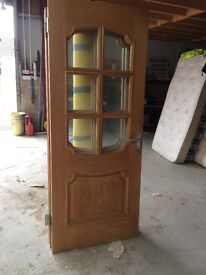 3 x wooden doors with glass inserts