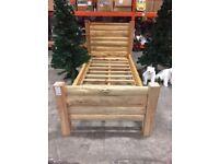 Designer Rustic Natural Solid Wood Single Bed Frame