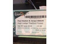 2 tickets for the Paul Heaton & Jacqui Abbot concert on 9th June @ Thetford Forest