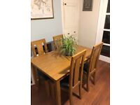 Wooden 4-Seater Dining Table & 4 matching Chairs
