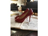 Jimmy Choo red patent leather peep toe platform heels size 5