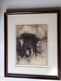 Original Framed Etching. HEDLEY FITTON 1859 -1929. 'Bargate, Southamton '