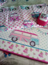 Campervan curtains and tie backs and matching canvas