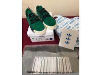 AW Adidas Originals Green Skate Shoes w originals Tags & Grey Shoes Sack UK SIZE 4.5 (M)/ US 6 (W)