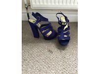 Size 6 Purple Block Heels - worn once like new