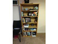 Wooden bookcase with six shelves, excellent condition.
