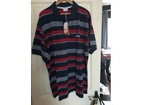MENS ELLESSE POLO NEW TAGS 2XL TALL,,NAVY /RED /WHITE