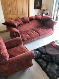 Quality burgundy large brocade sofa and chair