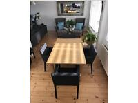 Extendable table & 4 chairs & 2 stools