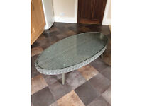 NEXT WICKER OCCASIONAL / COFFEE / CONSERVATORY TABLE-GREY