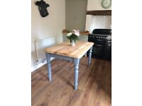 Heavy solid pine kitchen table / dining table - fully refurbished