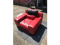 Red and black leather 3 piece suite from DFS £200