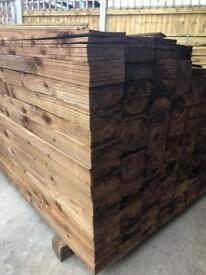 🐌 Feather Edge Pressure Treated Brown Wooden Panels/ Pieces/ Boards