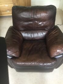 Leather recliner armchair, electrically operated.